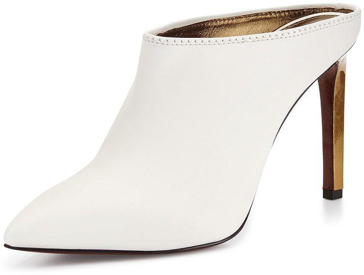 58f576ddec963 Lanvin Leather Point-Toe Mule Slide, White on shopstyle.com   Shoes ...