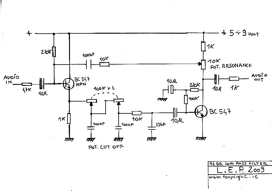 Simple 12 Db Low Pass Filter This Filter Use 2 Bc547 Npn Transistor And A Stereo 100k Pot For The Cutoff Instead Of The Pot It Filters Pass Transistors