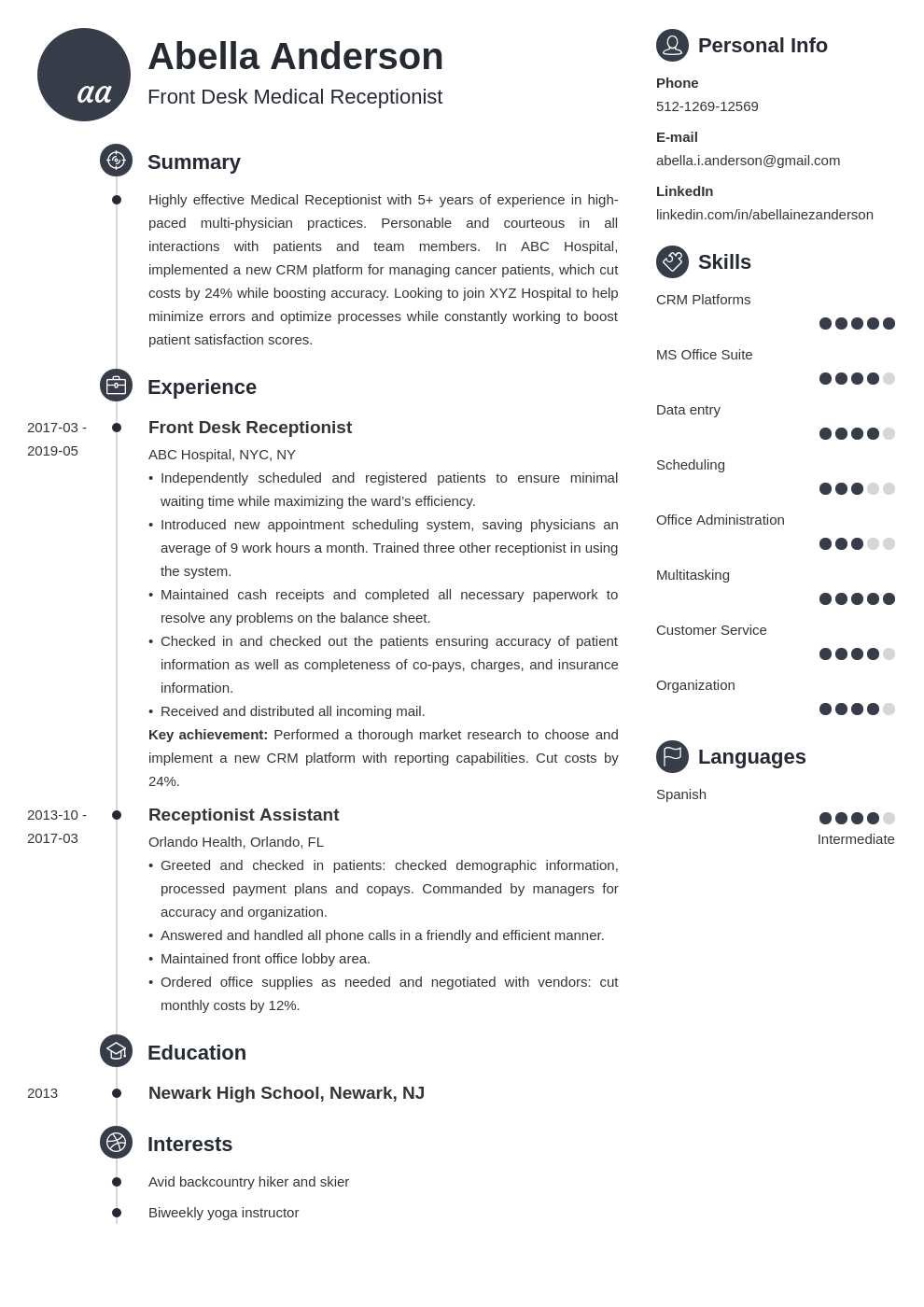 medical receptionist resume example template primo in 2020
