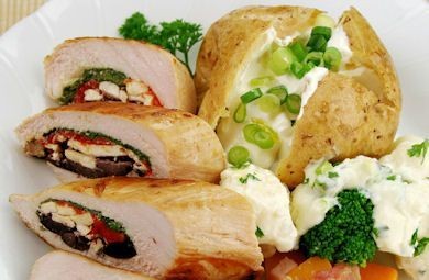 Stuffed Chicken Breasts with Olive Tapenade, Tomatoes, and Feta | International Food