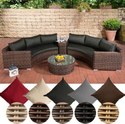 Poly-Rattan Garten Lounge Set rund, BARBADOS, 2x 3er-Sofa, Glastisch ...