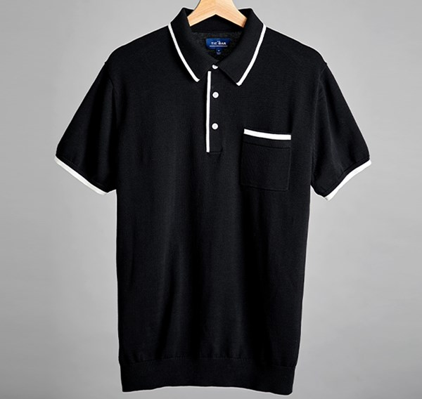 Tipped Cotton Sweater Black Polo Polo Shirt Outfits Polo T Shirts Black Capsule Wardrobe