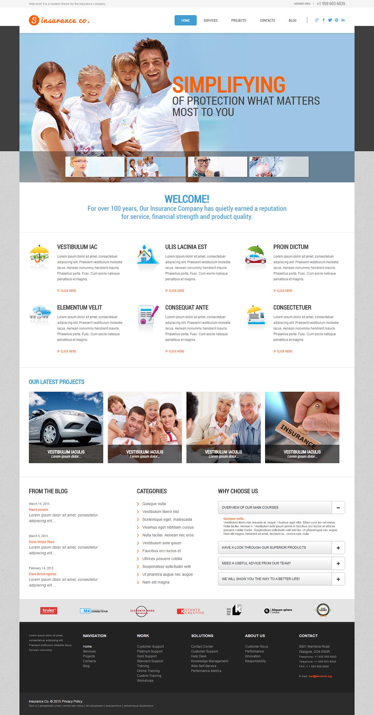 Insurance Company Wordpress Theme S Izobrazheniyami Shablon Sajta Shablony Sajt
