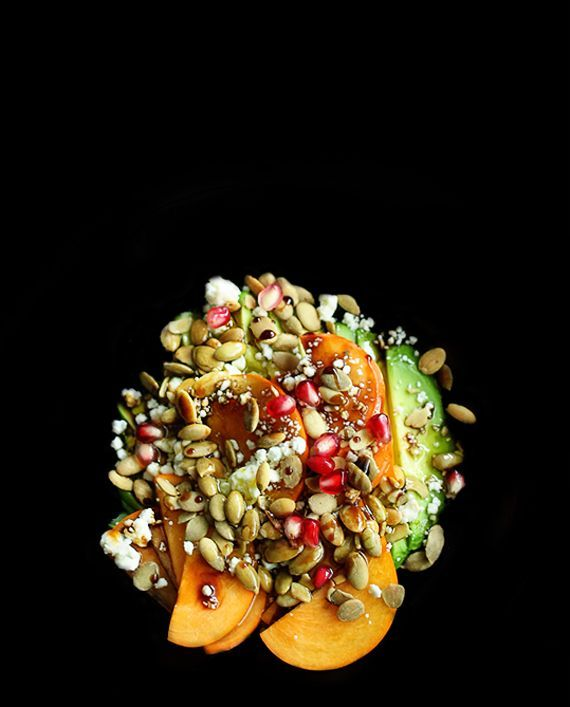 Avocado, persimmon, and pomegranate salad   http://5secondrule.typepad.com/
