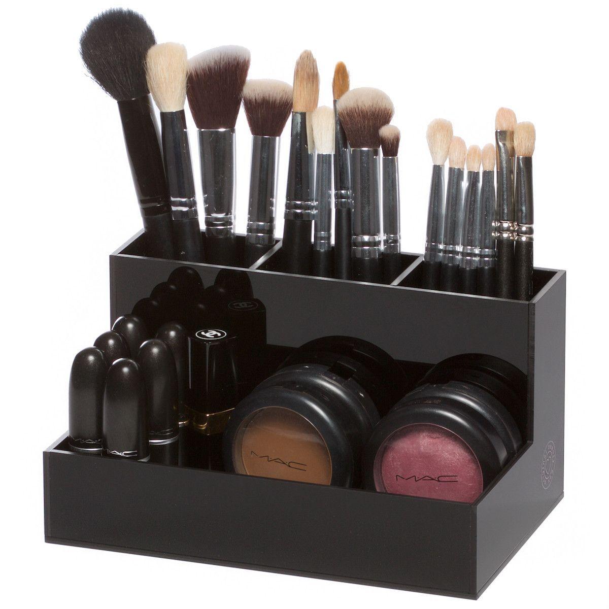 BLACK BRUSH HOLDER | Acrylic organizer makeup, Acrylic makeup