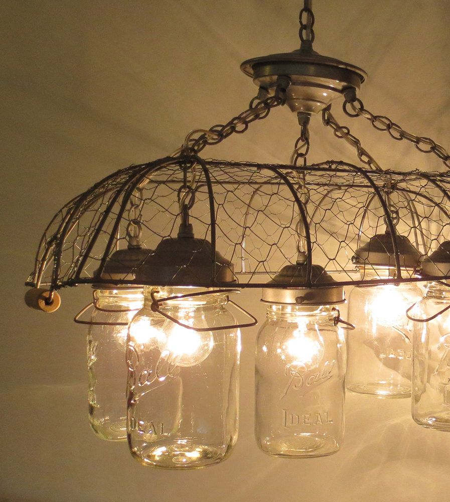 Mason Jar CHANDELIER Drying Rack 4-Light *ADD your OWN jars ...
