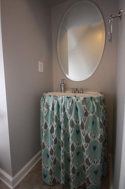 DIY Pedestal Sink Skirt