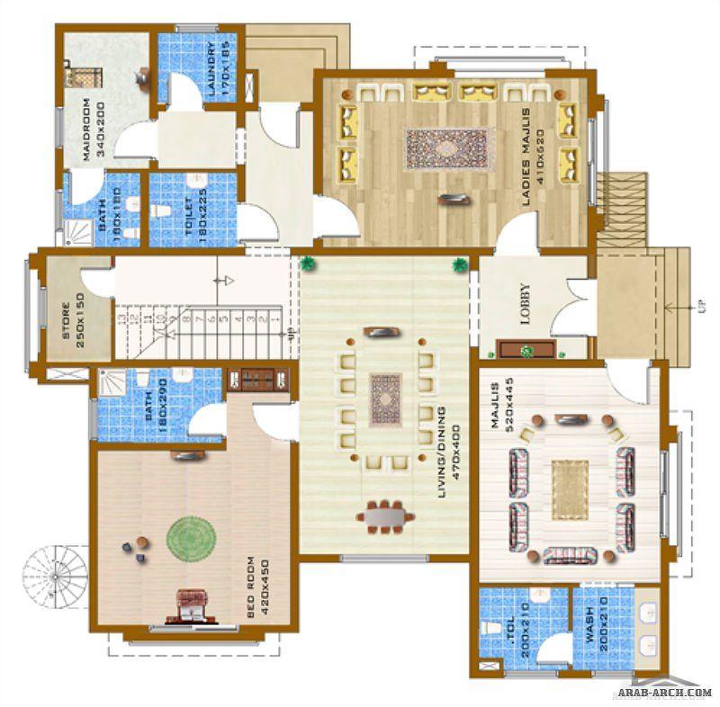 نماذج تصاميم مساكن المواطنين بمدينة محمد بن زايد في الفجيرة النموذج الثاني 762d3 Arab Arch Architectural House Plans House Layouts House Plans