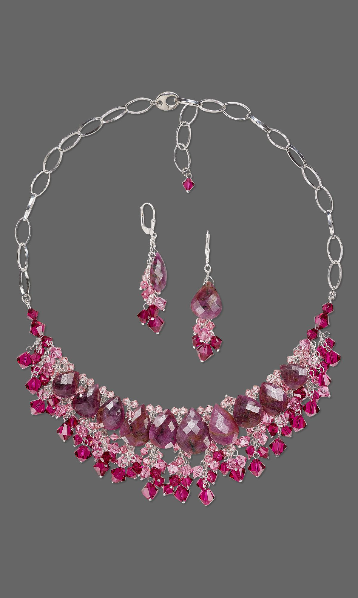 Jewelry Design Single Strand Necklace And Earring Set With Indian Ruby Gemstone Beads