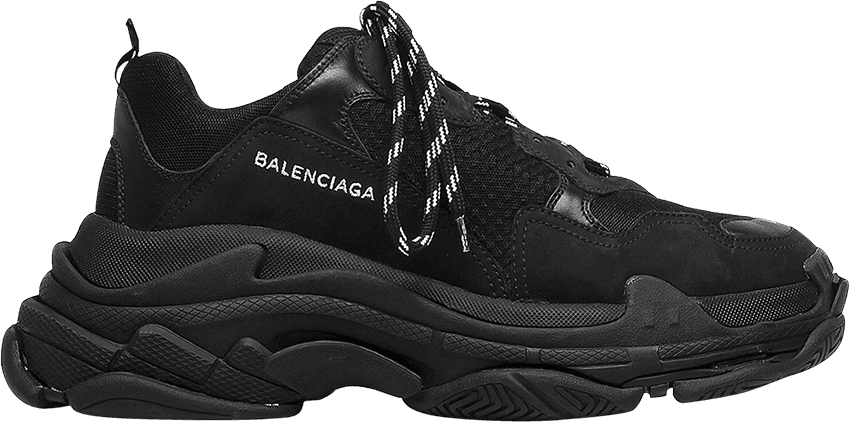 9305790cec84 Balenciaga Triple S Trainer  All Black Distressed