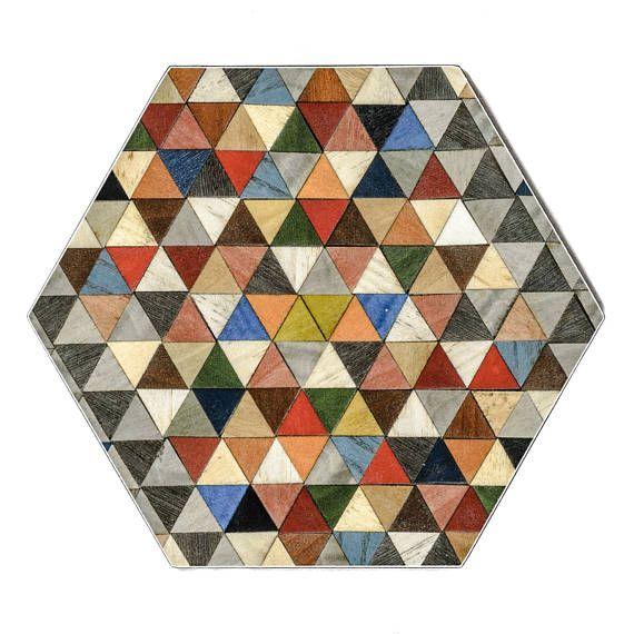 6 Blue Placemats Hexagon Tablemats Geometric Place Mats Boho Modern