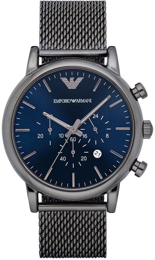 7d0723ea3a15 Emporio Armani Men s Chronograph Gunmetal Stainless Steel Mesh Bracelet  Watch 46mm AR1979