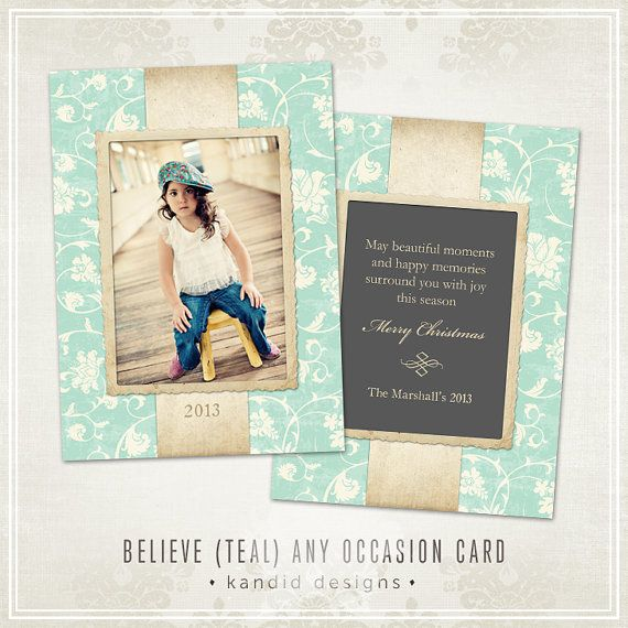 Believe Christmas Card Template Teal Millers Lab 5x7 Etsy Christmas Card Template Christmas Cards Xmas Card Template