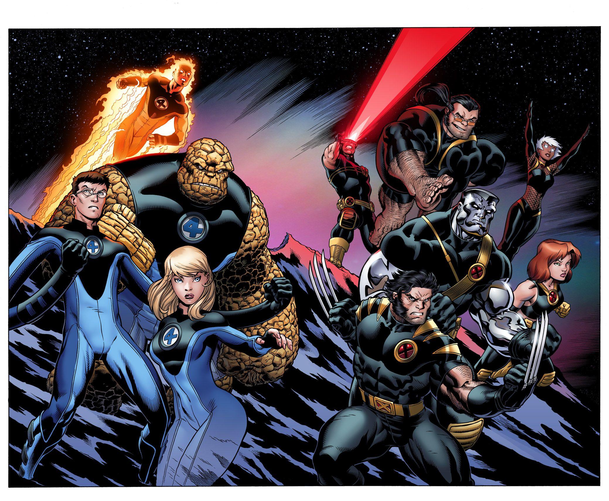 Ultimate Fantastic Four X Men By Ed Mcguinness Marvel Quarteto Fantastico Marvel Vs