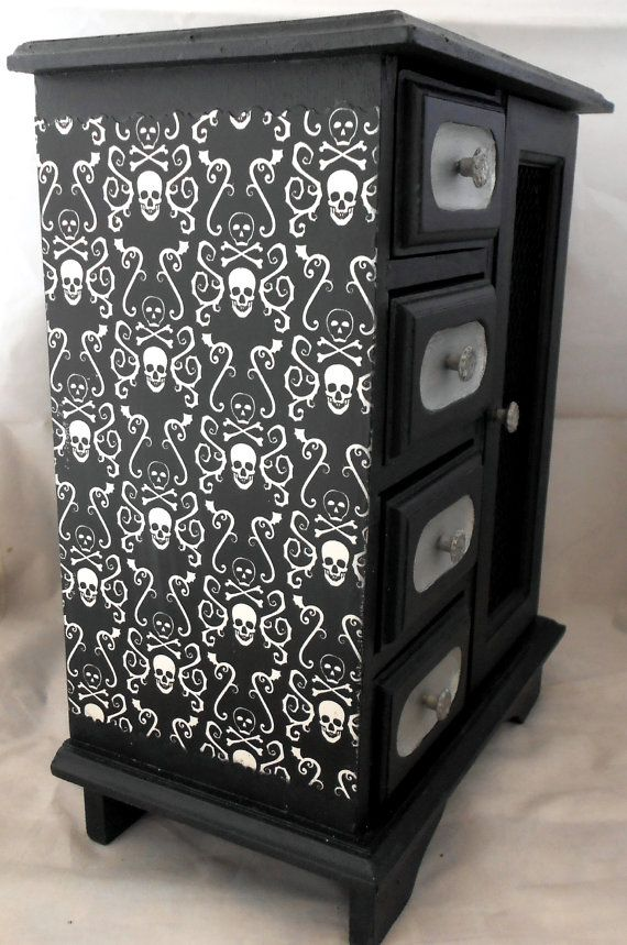 Gothic Home Decor Gothic Curio Cabinet Skull And Crossbones