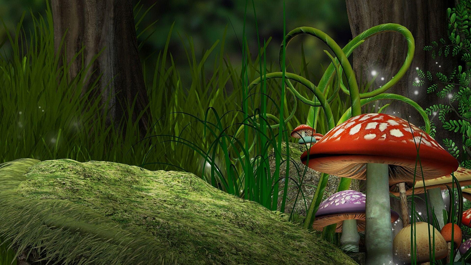 Fantasy Mushrooms Hd Wallpaper Abstrak Wallpaper Hd Gambar