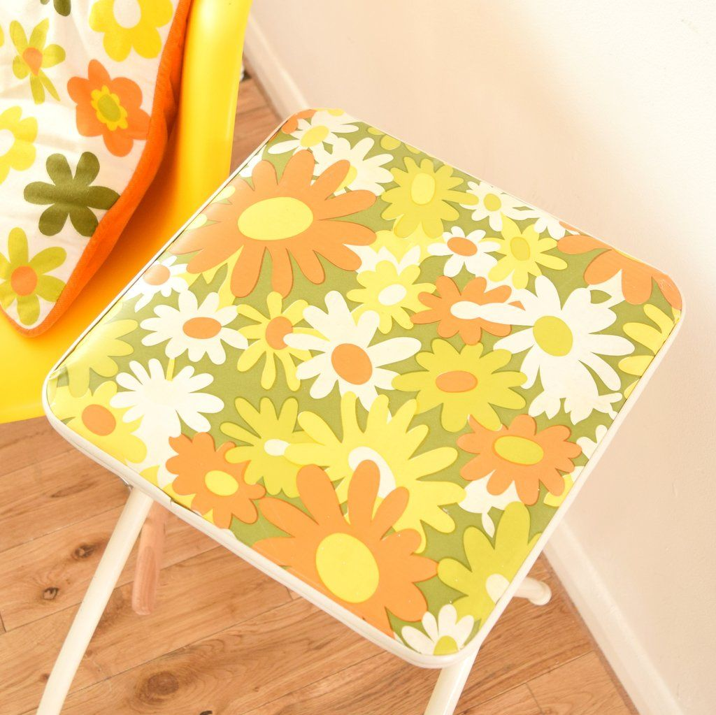 Vintage 1960s Flower Power Vinyl Folding Stool Orange