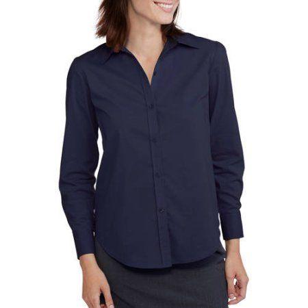 George Career Essentials Women S Long Sleeve Core Button Down Shirt