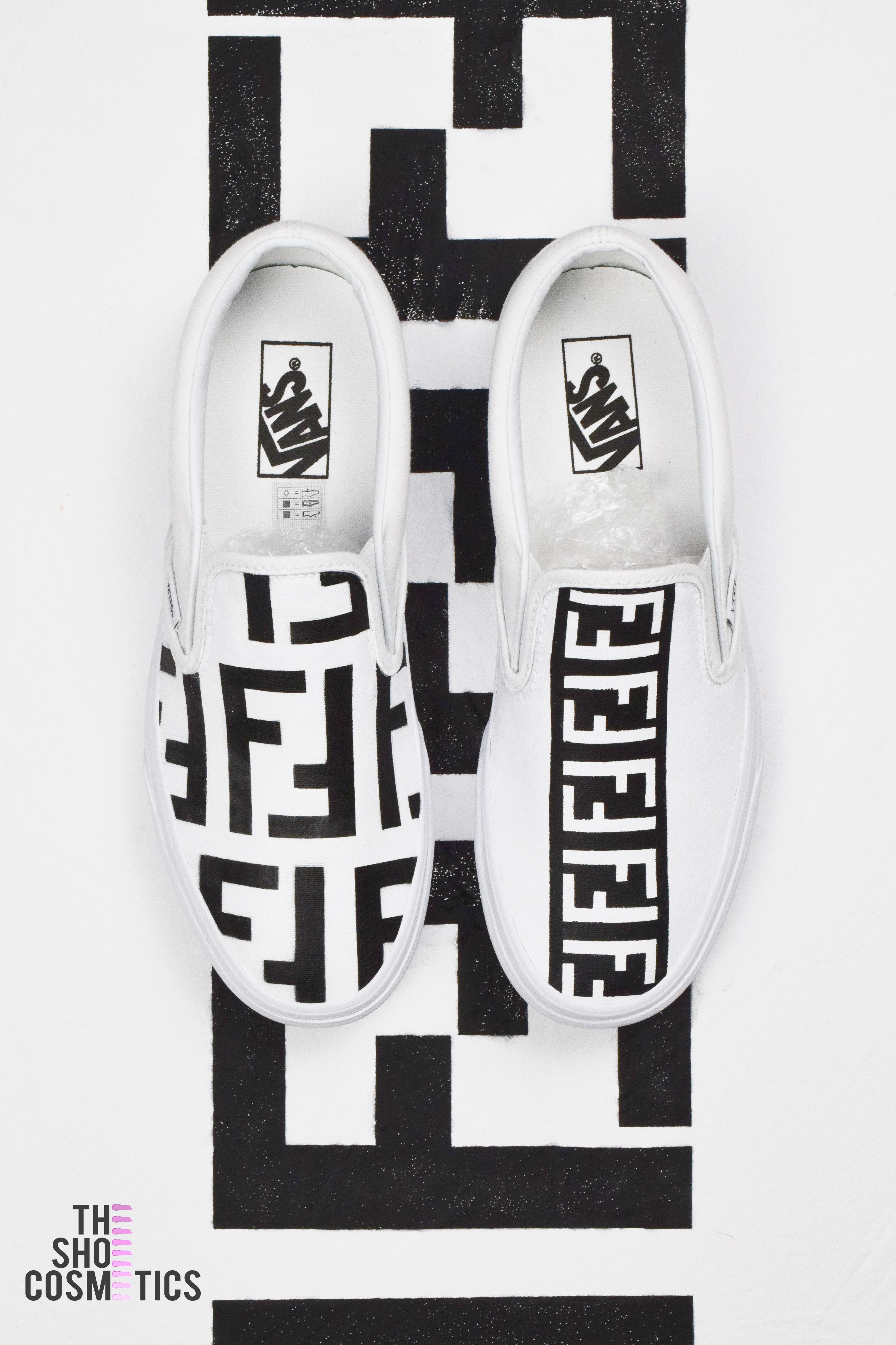 61310a63ce5f2b Explore our new black and white fendi vans slip on custom sneakers. Looking  for slip on vans or custom vans  Then our new fendi print hand painted  sneakers ...