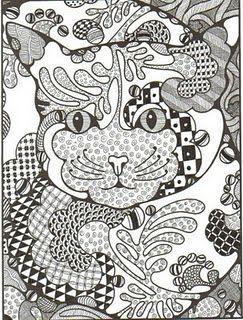 Zentangling Fun   Раскраски с животными, Кошачий арт ...