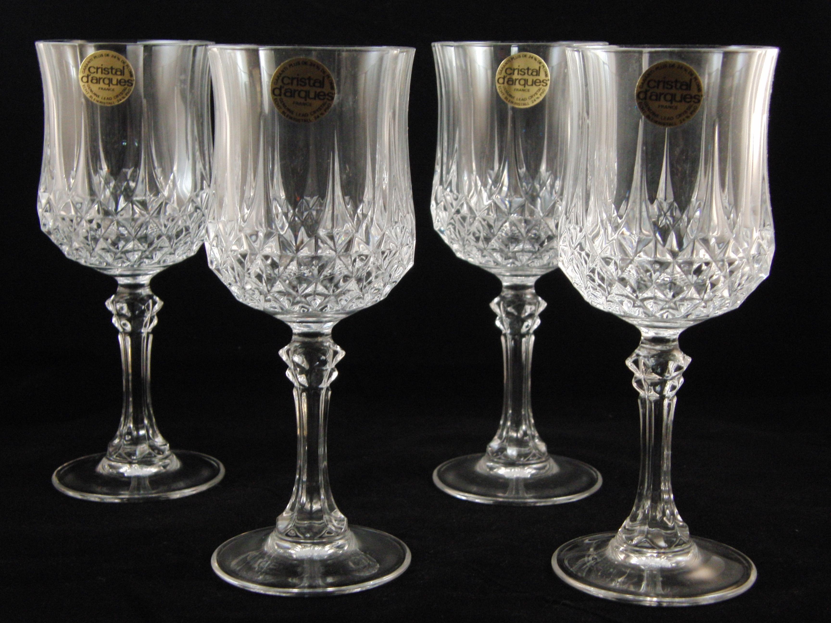 genuine lead crystal 4 longchamp glasses wine glasses by. Black Bedroom Furniture Sets. Home Design Ideas