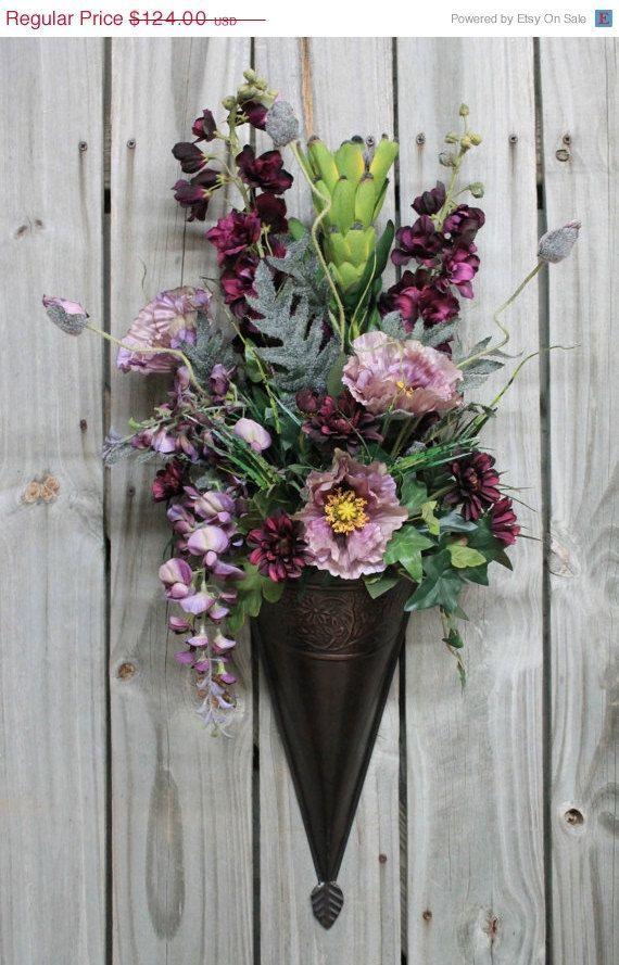 Purple Poppy Wall Sconce, Floral Arrangement, Primitive Country ...