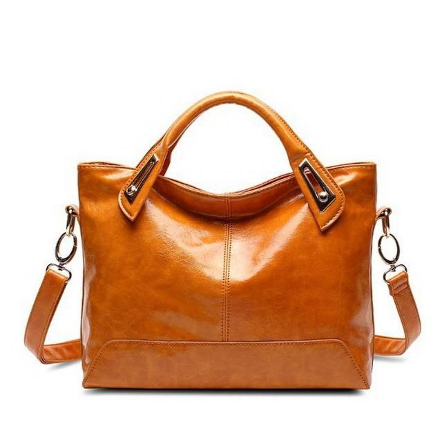 Photo of Women Oil Wax Leather Designer Handbags High Quality Shoulder Bags Ladies Handbags Fashion brand PU leather women bags WLHB1398 – Brown