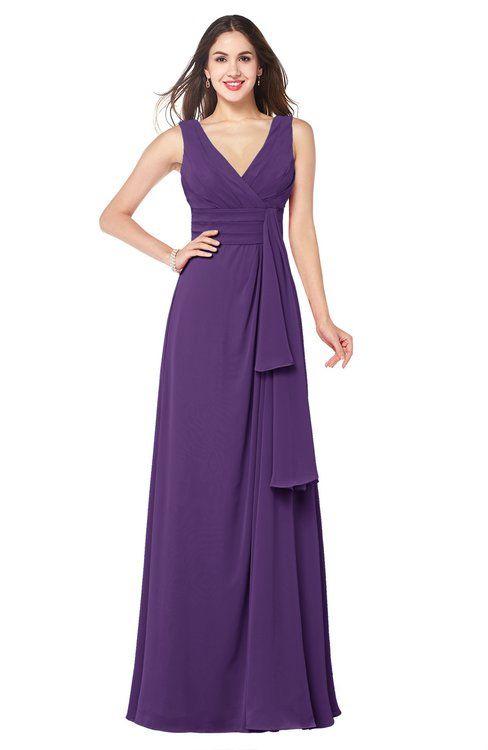 ac5e6d8257d ColsBM Brenda Dark Purple Romantic Thick Straps Sleeveless Zipper Floor  Length Sash Plus Size Bridesmaid Dresses