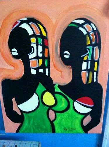 Oil painting called Sisters