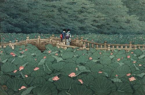 Pond at the Benten Shrine in Shiba Author: Kawase Hasui (Japanese, 1883-1957)Date: 1929Medium: Color woodblock printLocation: Museum of Fine Arts, Boston