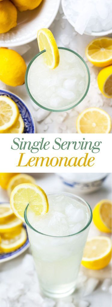 Single Serving Lemonade - A quick and easy recipe for one! Make a glass of sweet, tangy, and refreshing lemonade at home in five minutes! theliveinkitchen.com @liveinkitchen #lemonadepunch