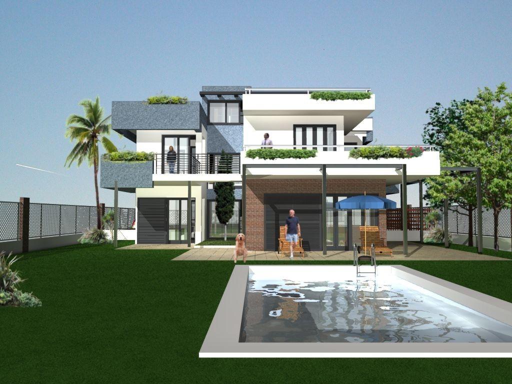 Casas moderno balcon exterior jard n piscina - Plantas de balcon ...