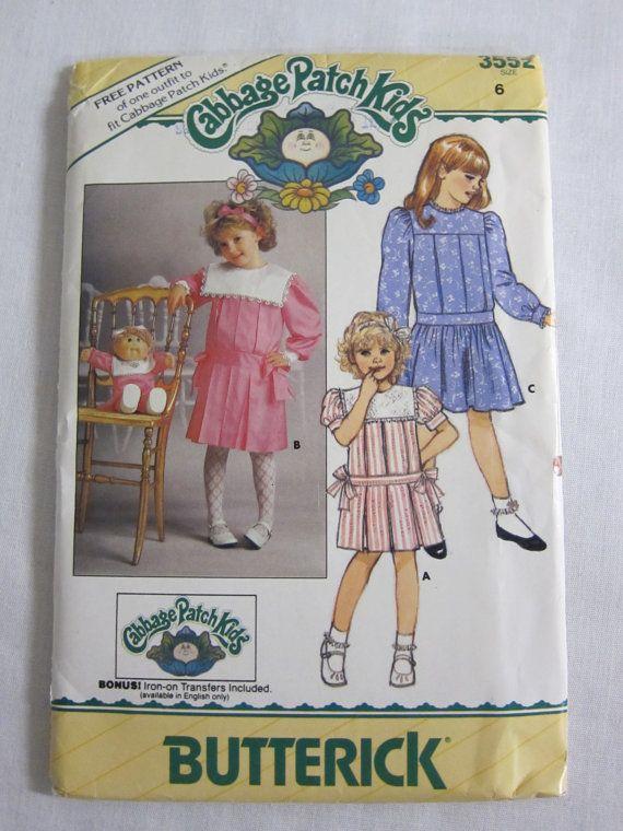 Girl\'s Cabbage Patch Dress Pattern Buttrick 3552 Size 6. Girl Dress ...
