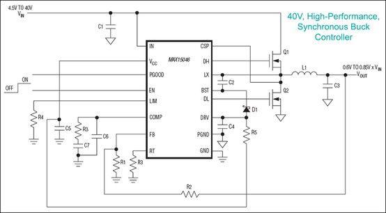 MAX15046, MAX15046A, MAX15046B: 40V Industrial Controller Operates