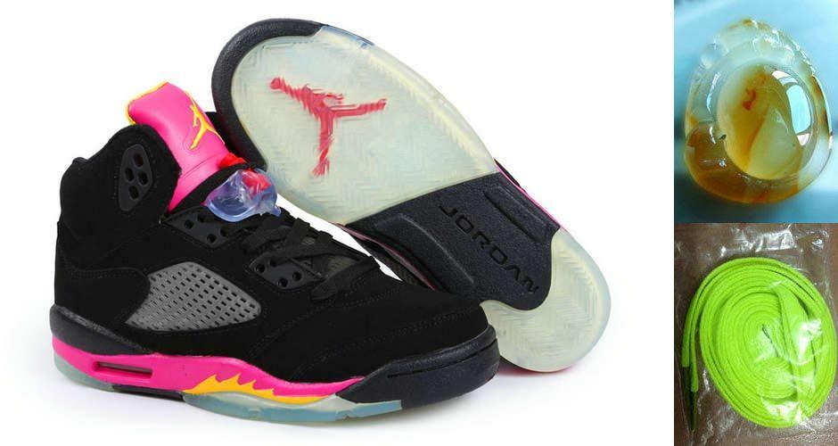 the best attitude 29f50 cbbac Air Jordan 5 Retro Womens Black Deep Pink Yellow Chalcedony Pendant Volt  Lace Gifts