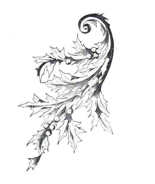 Coloring Pages - Christmas - Holly Scroll   Porcelain art ...