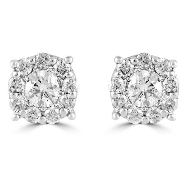 Effy Jewelry Bouquet 14k White Gold Diamond Cer Stud 1 500 Liked On Polyvore Featuring Earrings