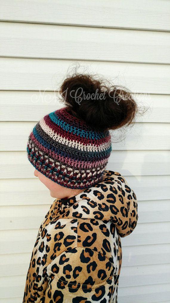 Ponytail hat messy bun hat crochet hat by NMJCrochetCreations