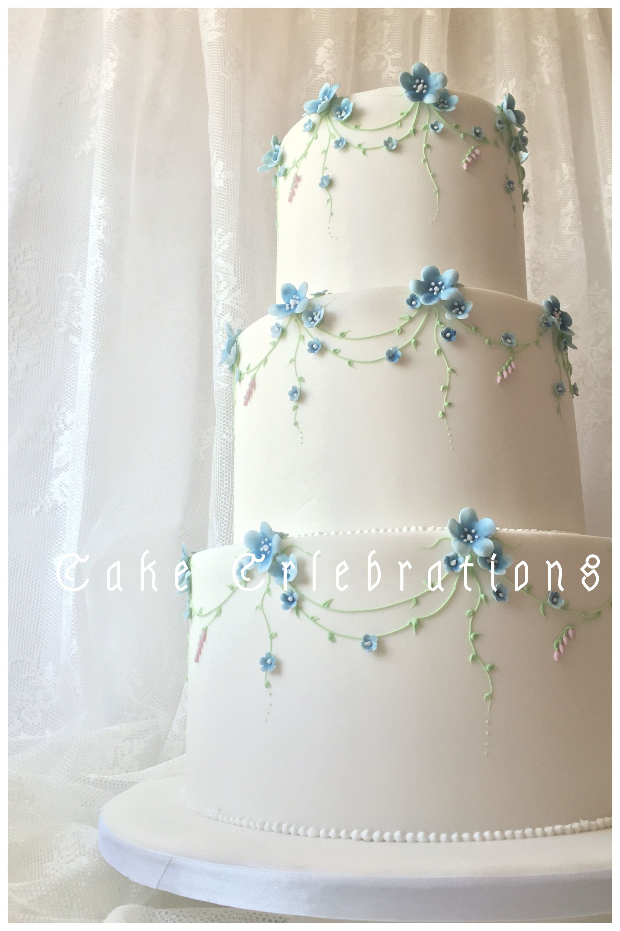 Forget Me Not Cake Made For Display Wedding Cakecelebrations Blue Diy Wedding Cake Wedding Cake Designs Amazing Wedding Cakes