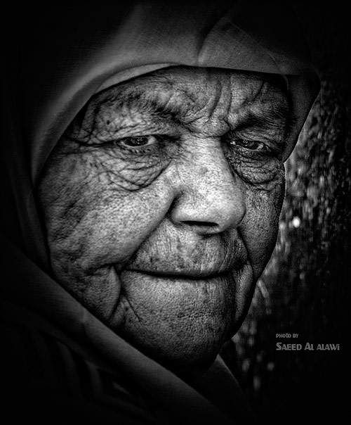face 02 in faces of old people in black and white photography