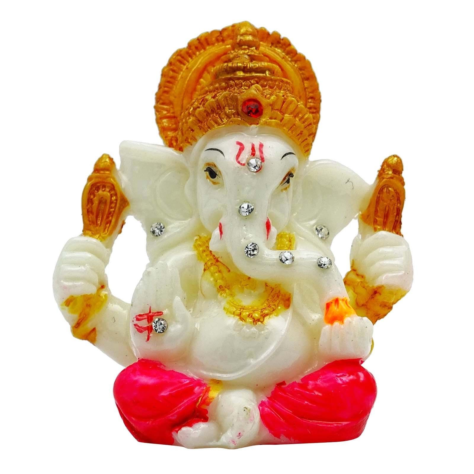 Mini Ganpati Poly Marble Car Dashboard Decorative Lord