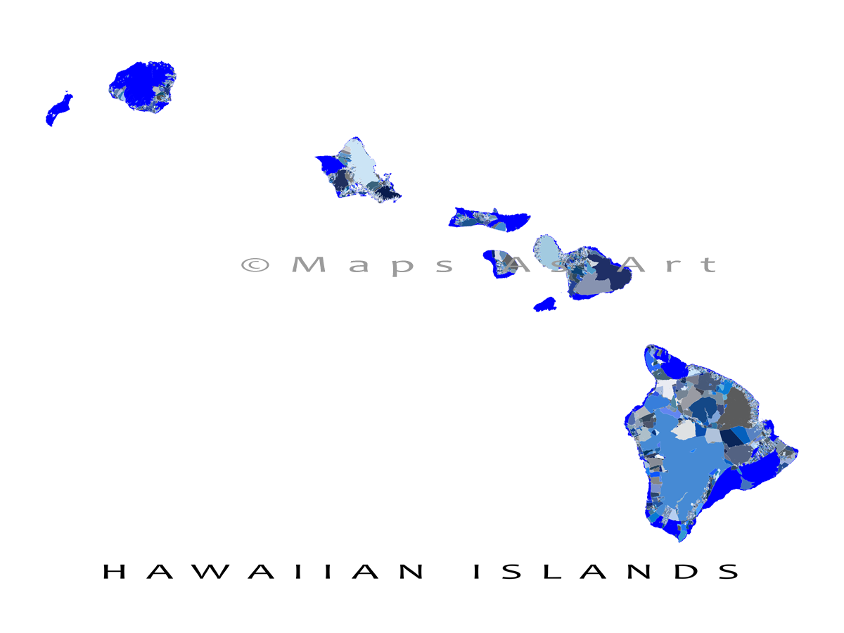 Hawaii Map Print Featuring All The Major Hawaiian Islands Including Hawaii Maui Oahu Kauai Molokai Lanai Nii Hawaii Art Print Hawaii Art Island Print