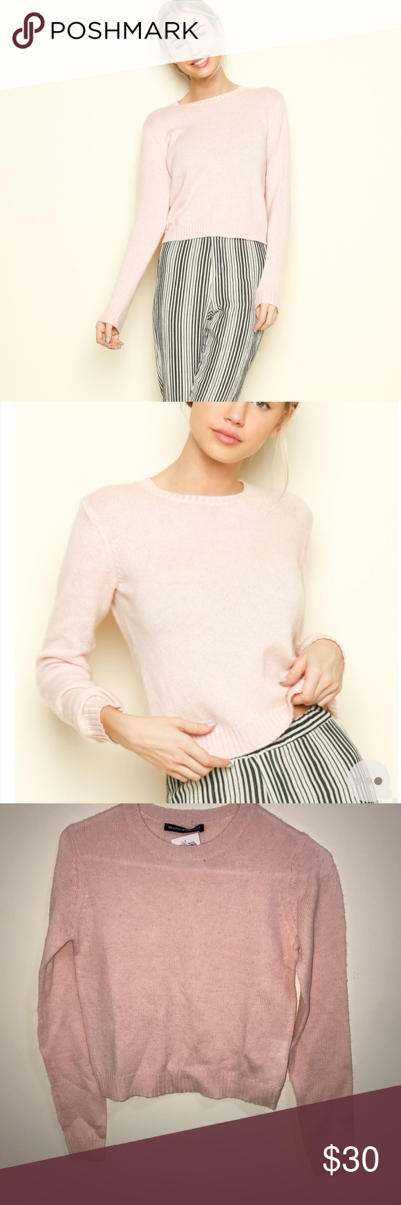 Brandy Melville pink crop sweater Pink cropped sweater Brandy Melville Sweaters
