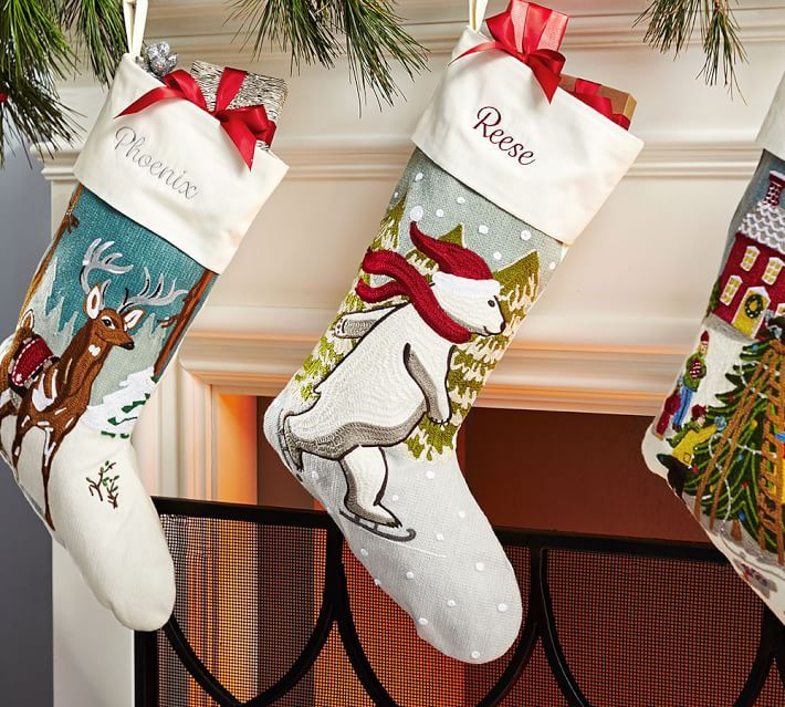Whimsical Crewel Embroidered Stocking Pottery Barn Winter