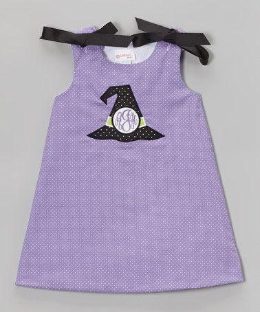 Look what I found on #zulily! Purple Pin Dot Witch Hat Monogram Jumper - Infant & Toddler #zulilyfinds
