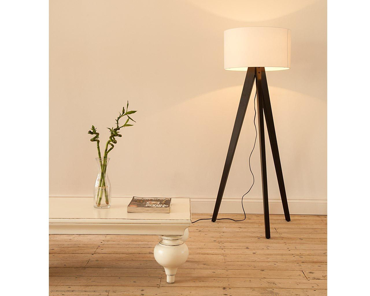 Wood floor lamp with table - Tripod Floor Lamp Wooden