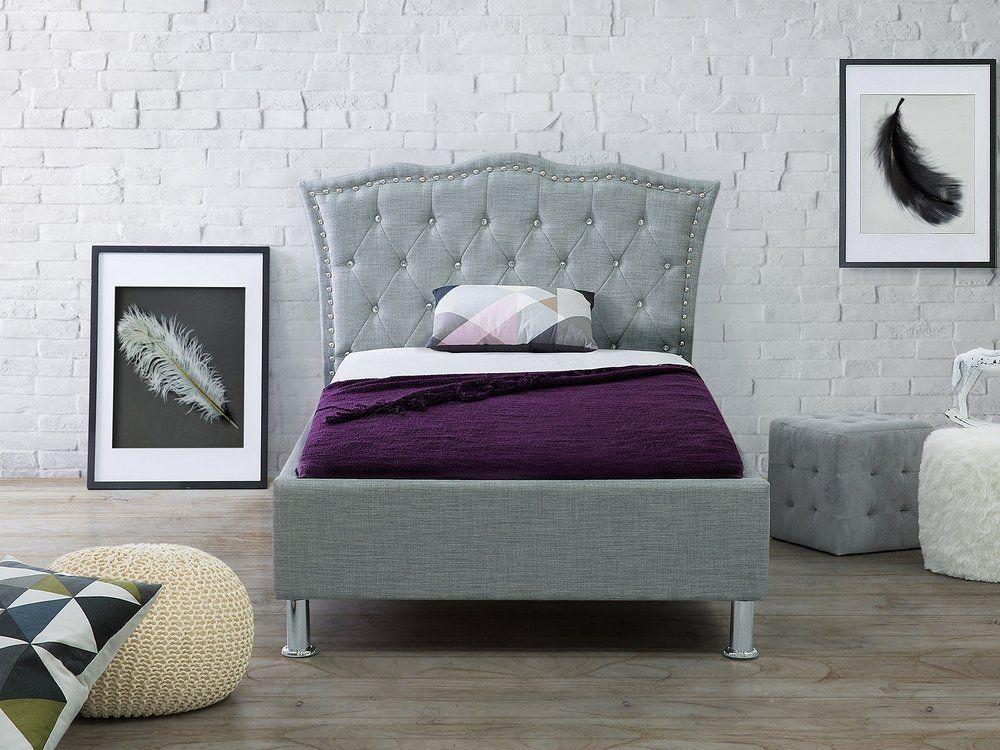 Łóżko tapicerowane 90 x 200 cm szare METZ Letti singoli