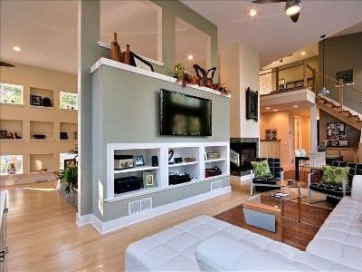 use of partial wall for TV and room divider Home Ideas Pinterest