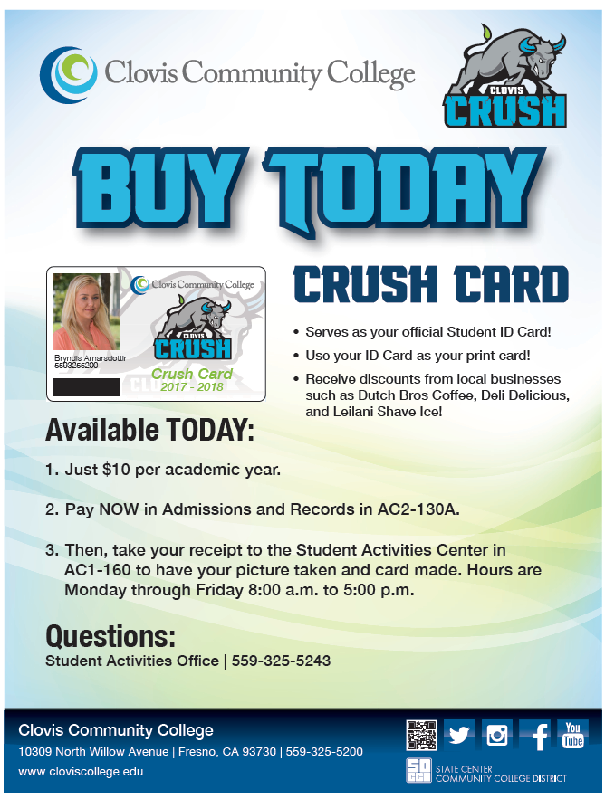 Students Buy Your Crush Card For Just 10 00 Per Academic Year