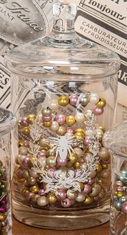 Glass Jar w/French Bee (2 sizes)